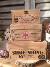 SECONDS Vintage Wooden Storage Box First Aid/Shoe Shine/Sewing Shabby Chic