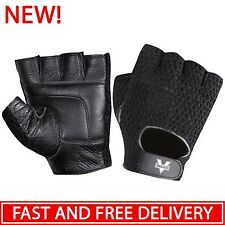 Mesh Weight Lifting Leather Gloves Mens Black Women Fitness Cycling Training Gym