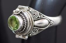Handmade Solid Sterling Silver .925 Bali Poison/Pill Box Ring. Choose Gem/Size.
