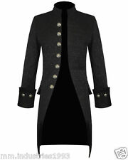 Mens Handmade Jacket Black Brocade Gothic Steampunk Victorian Frock Coat