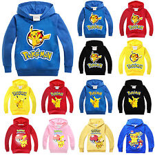 Kids Boys Girls Pokemon Go Sweatshirt Pullover Pikachu Casual Top Jogger Hoodies