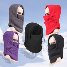 4 in 1 Winter warmer Fleece Men Women scarf BLACK Hood Balaclava Neck Face Mask