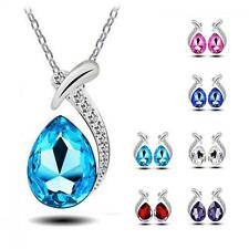 Fashion Crystal Chain Pendant Necklace Silver Plated Stud Earring Set