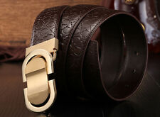 Pop Men's Genuine Print Leather Belt  Western Belt Texture Ratchet Belts S-XL