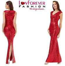 RED LONG SEQUIN MAXI PLEATED NECKLINE WEDDING PROM GOWN PARTY DRESS 8-14(WAS£79)