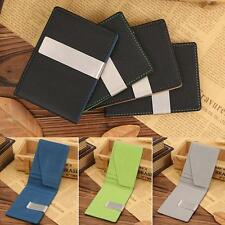 Men's ID Credit Card Holder Pu Leather Wallet Money Clip Stainless Steel