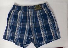 POLO RALPH LAUREN MENS COTTON CLASSIC PLAID WOVEN BOXERS BLUE  # L107TR-NWT