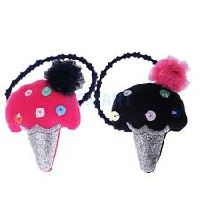 Boutique Fabric Girls Ice Cream Elastic Hair Tie Rope Band Baby Hair Accessories