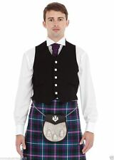 "Men's Argyll Kilt Waistcoat 5 Button Black Scottish 100% Wool 36"" TO 54"""