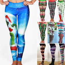 Womens Printed Leggings Christmas Trousers Casual Workout Pants Jeggings Skinny
