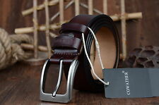 Luxury Genuine Top Cow Leather Men's Belt Square Pin Buckle Leather Belts Black