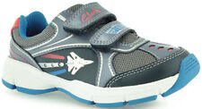 Clarks JET STOMP Boys Denim Blue Leather 'Lights' Trainers Shoes 7 - 12 FGH Fit