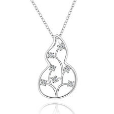 Silver Plated Zircon Flower Pendant Necklace Jewelry Trendy 18inch
