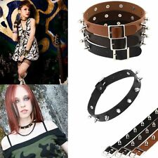 Rock Gothic Choker Chic Stud Collar Silver Rivet Leather Punk Necklace