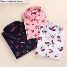 Women Blouses Shirts Casual Cherry Blouses Long Sleeve Tops
