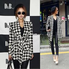 Korean Women's Plaid Checks Long Sleeve Wool Blend Slim Fit Coat Jacket Cardigan