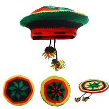 Marley Jamaica Rasta Beanie Hat Beret Cap Reggae Caribbean Fancy Dress Costume