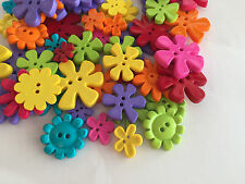Bright Flower shaped buttons : mixed colours : assorted sizes : from 99p