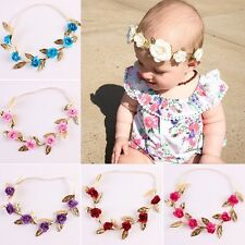 Headband Crown Rose Flower Wreath Gold Leaves Hair Band Baby Garland