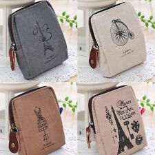 Cute Classic Tower Card Eiffel Case Retro Coin Purse Handbags Wallet Canvas