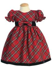 Red Plaid Christmas Holiday Toddler Dress with Black Velvet Trim NWT Lito 4T
