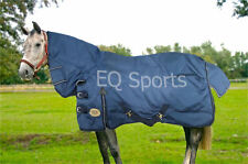 "FREE P&P Super Heavy Weight Turnout Rug, F/Neck,Navy/Blk 400gms SZ 5""3""-7""0"