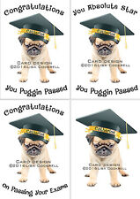 Personalised Pug Dog Congratulations On Passing Your Exams Card - A Level, GCSE