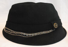 NWT AFFLICTION mens silver CHAINED black felt FEDORA hat T SHIRT *ONE SIZE
