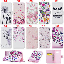 Fashion Feather Butterfly Wallet Leather Flip Case Cover Card Holder For Samsung
