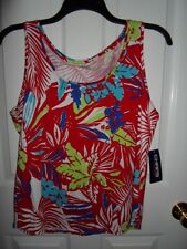 CHAPS RALPH LAUREN RED BLUE LIME GREEN WHITE FLORAL KNIT TANK TOP CAMI S XL