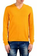 Malo Men's Fire Yellow V-Neck Pullover Sweater US M IT 50