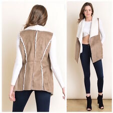 Ladies Sleeveless Faux Suede Vest Pockets Shearling Lined Taupe Open Front Outer