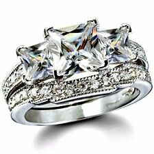 .925 Sterling Silver wedding set size 8 CZ Princess cut Engagement Ring New w95