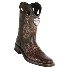 Men's Wild West Genuine Square Toe Caiman Belly Rodeo Boots Rubber Sole Handmade