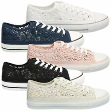 Sherilyn Womens Flats Low Heels Lace Up Sequin Pumps Ladies Skater Trainers Size