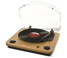 ION Audio Max LP | 3-Speed Belt Drive Turntable with Built-In Speakers & 1/8""