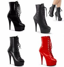 PLEASER Delight-1020 Black Red Leather Lace Up Ankle Boots Platforms Heels 6-14