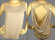 Sexy Gray Sleeveless Top Strappy Cut Out Open Drap Cowl Back High Low Style Tank