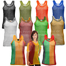 Men's String Vest AMIR Fish Net Mesh Cool Gym Tank Top Caribbean Summer Holiday