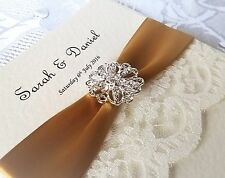 Hand Crafted Vintage Brooch Ivory Wedding Invitation ANY COLOUR
