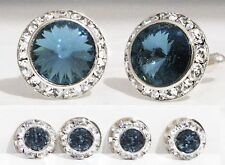 DENIM BLUE TUXEDO CUFFLINKS & STUDS SET CUSTOM MADE WITH SWAROVSKI CRYSTALS