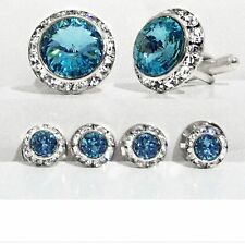 AQUAMARINE CRYSTAL TUXEDO CUFFLINKS & STUDS SET CUSTOM MADE/W SWAROVSKI CRYSTALS
