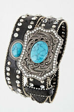 Western LEATHER Bling Belt Turquoise Crystal Conchos Rhinestone Cowgirl Rodeo
