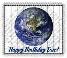 Earth From Space edible image cake topper frosting sheet personalized