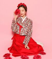 KOREA Traditional Dress Solid Pleated skirt + Ribbon Flower printed blouse 4