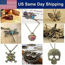 Women Vintage Bronze Jewelry Retro Long Sweater Necklace Charms Pendant Gift