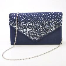 Womens Satin Crystal Clutch Bag Chain Evening Party Envelope Handbag Purse