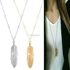 Women Feather Pendant Long Chain Necklace Sweater Statement Vintage Jewelry FT