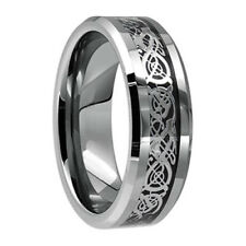 8mm Mens Silver Celtic Dragon Inlay Tungsten Carbide Ring Size US 6-13 / AU M-Z1