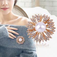 Alloy with Faux Pearl and Rhinestone Inlaid Brooch Flower Bouquet Brooch Pin BE